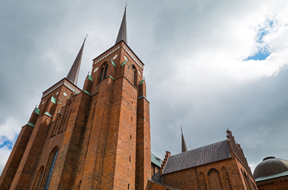 Roskilde, upward view of the Romanesque and Gothic transitional style Cathedral
